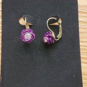 Betsey Johnson Purple Rose Earrings